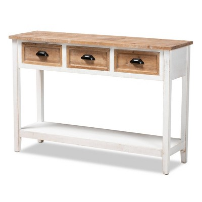 Benedict Two-Tone Wood 3 Drawer Console Table White/Oak - Baxton Studio
