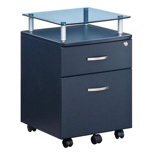 Rolling and Locking File Cabinet Gray - Techni Mobili
