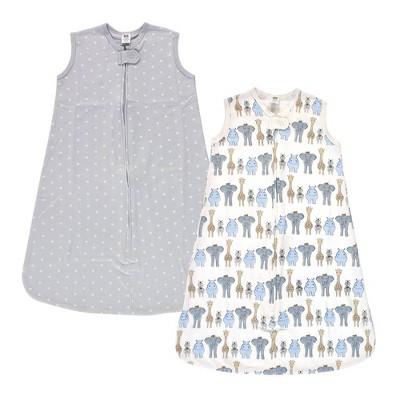 Hudson Baby Unisex Baby Interlock Cotton Sleeveless Sleeping Bag - Royal Safari 6-12M