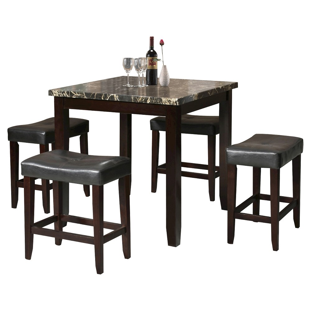 Ainsley 5 Piece Counter Height Dining Set - Black Faux Marble and Espresso - Acme, Espresso Brown
