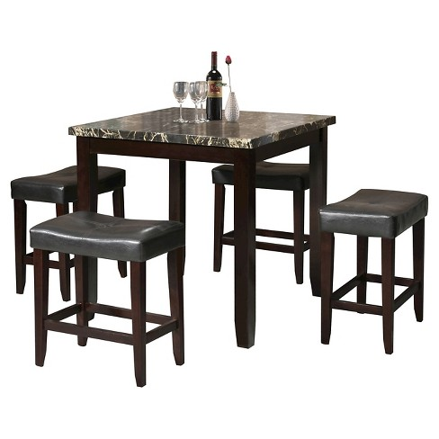 Ainsley 5 Piece Counter Height Dining Set Black Faux Marble And Espresso Acme