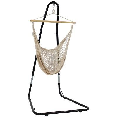 Cotton/Nylon Large Mayan Hammock Chair and Stand - Natural - Sunnydaze Decor