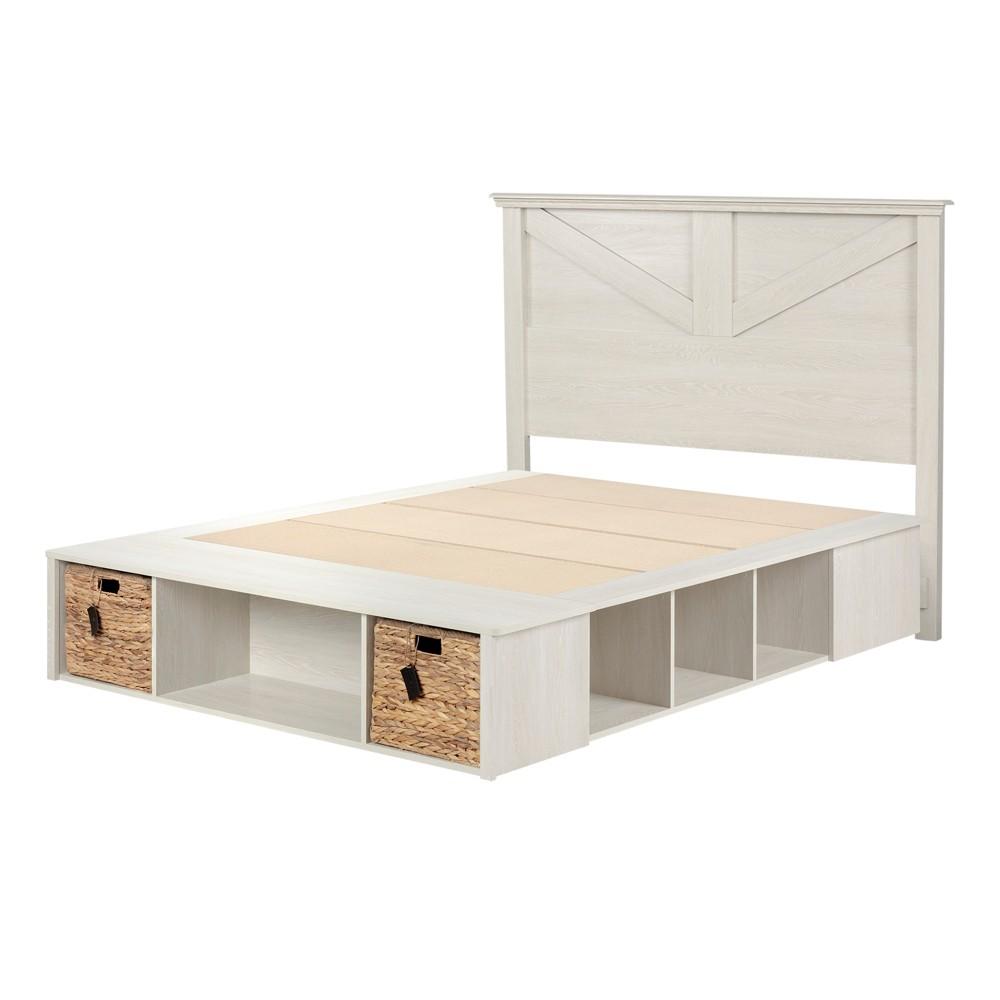 Avilla Complete Bed Set with Baskets Queen Winter Oak/Rattan - South Shore