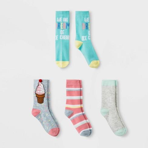 Girls' Ice Cream Print Crew Socks - Cat & Jack™ Colors May Vary - image 1 of 1