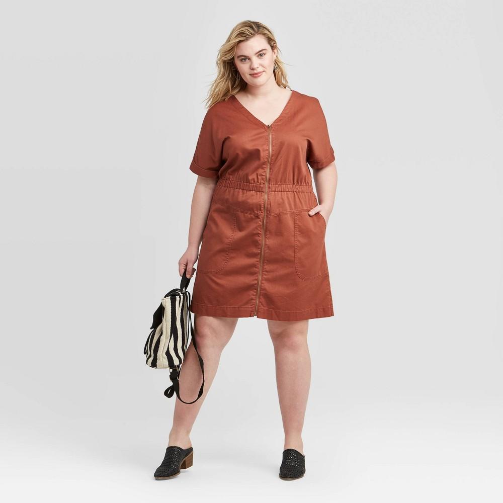 Women's Plus Size Short Sleeve V-Neck Front Zip Elastic Waist Dress - Universal Thread Brown 4X was $27.99 now $19.59 (30.0% off)