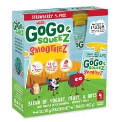 GoGo squeeZ Kids' SmoothieZ, Strawberry - 4oz/4ct