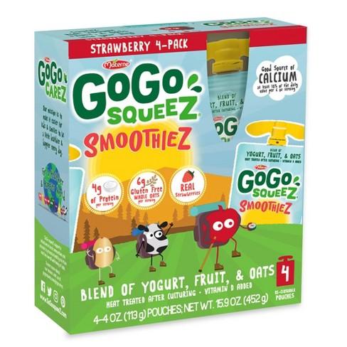 GoGo squeeZ Kids' SmoothieZ, Strawberry - 4oz/4ct - image 1 of 3