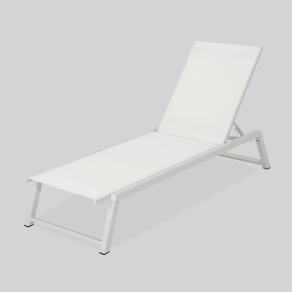 Myers Aluminum Outdoor Patio Chaise Lounge - White - Christopher Knight Home