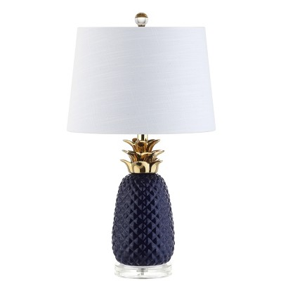"23"" Pineapple Ceramic LED Table Lamp Navy (Includes Energy Efficient Light Bulb)- JONATHAN Y"