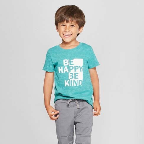 Toddler Boys' Be Happy Be Kind Short Sleeve T-Shirt - Cat & Jack™ Teal - image 1 of 3