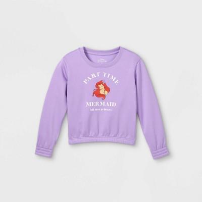 Girls' Disney Princess Ariel Pullover Sweatshirt - Purple M