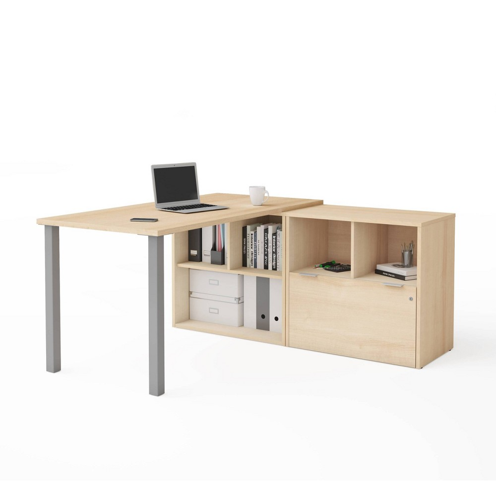 Image of I3 Plus L Desk with One File Drawer Northern Maple - Bestar, Northern Brown