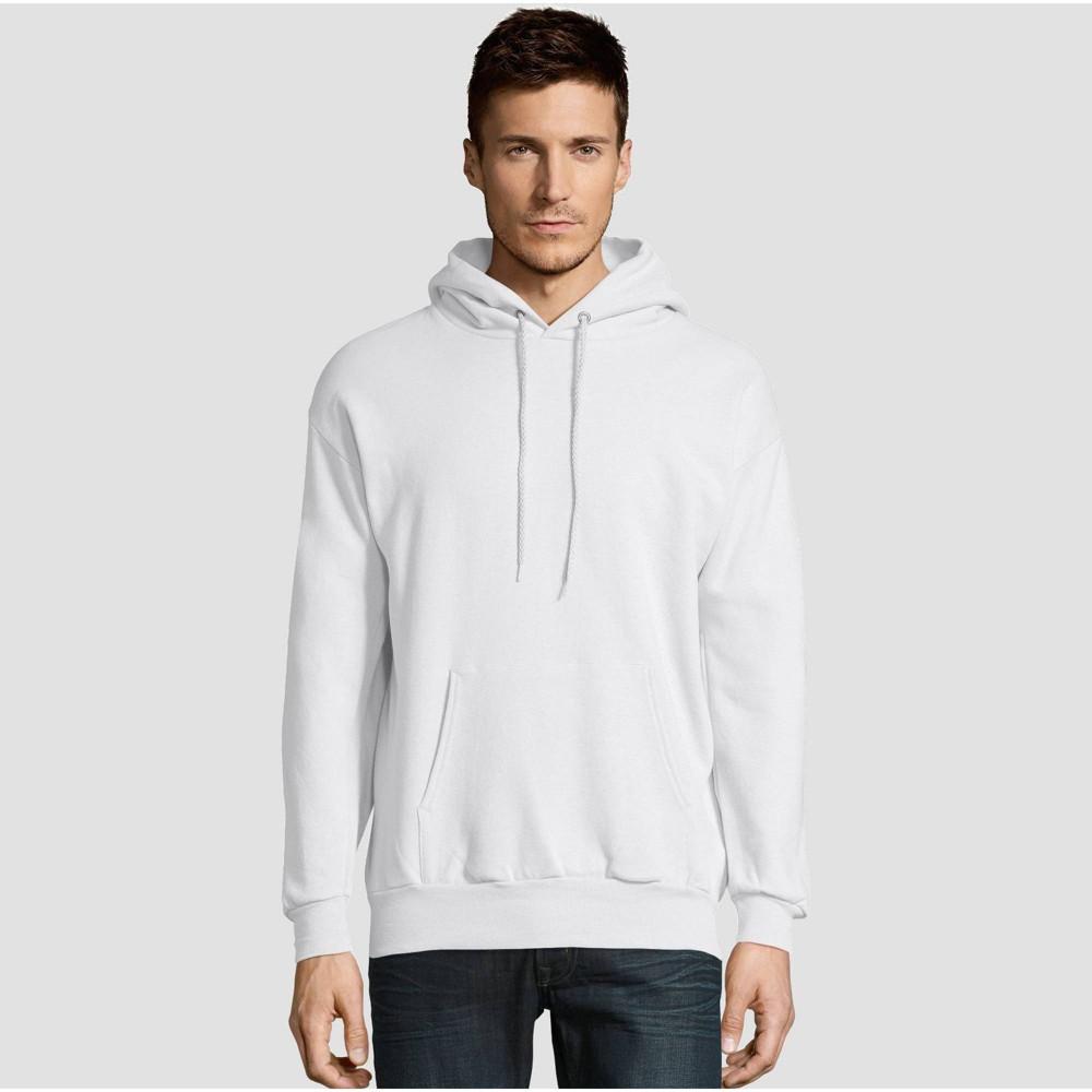 Hanes Men S Ecosmart Fleece Pullover Hooded Sweatshirt White M