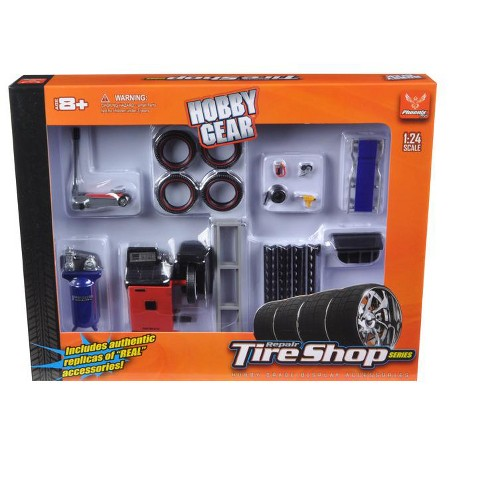 Tire Repair Shop Accessories Set Ford 1/24 Diecast Model Cars by Phoenix Toys - image 1 of 1