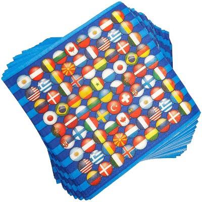 "Blue Panda 100 Pack International Flag Disposable Paper Napkins 6.5"" Party Supplies"
