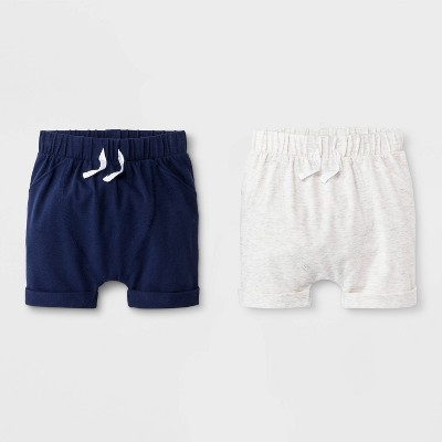 Baby Boys' 2pk Pull-On Shorts - Cat & Jack™ Gray/Blue 0-3M
