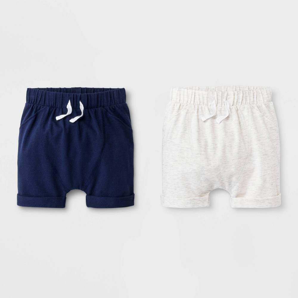 Image of Baby Boys' 2pk Pull-On Shorts - Cat & Jack Gray/Blue 0-3M, Boy's