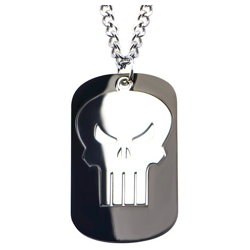 "Men's Marvel™ Punisher Stainless Steel Cutout Pendant with Chain (22"") - image 1 of 2"
