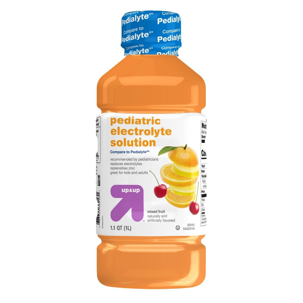 Pediatric Oral Electrolyte Solution, Fruit Flavor - 1.1qt - Up&Up About Electrolyte Pediatric Drink: Compare and Save. Electrolyte Pediatric Drink, fruit flavor, helps prevent dehydration by restoring fluid and electrolytes lost during diarrhea and/or vomiting. This electrolyte drink, 1 liter, is recommended by pediatricians for quickly and effectively re-balancing your child's water and electrolytes, making it a must-have in case they get sick. The taste of the fruit-flavored baby drink helps ensure your child will drink it without a fuss. Size: 33.8.