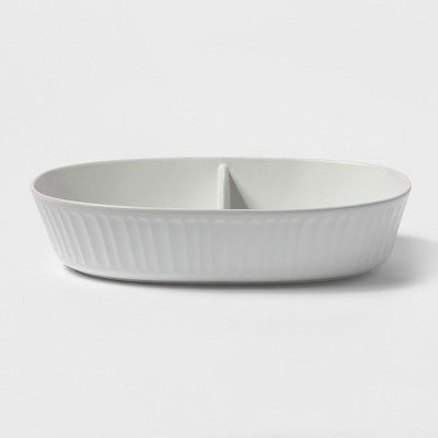 96oz Stoneware Divided Serving Bowl White - Threshold™