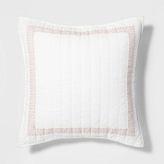 Standard Hotel Embroidered Linen Blend Sham Cream - Threshold™