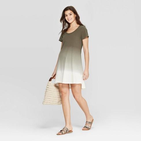 Women's Short Sleeve Scoop Neck T-Shirt Dress - Universal Thread™ Olive - image 1 of 10
