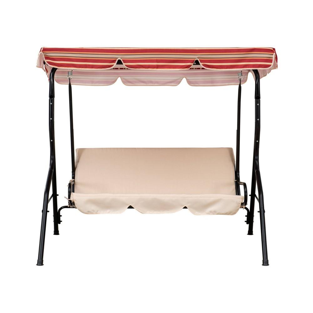 Image of Atlantic 3-Seat Steel Adjustable Tilt Outdoor Canopy Swing Beige - Sunjoy