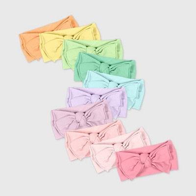 Honest Baby Girls' 10pk Organic Cotton Bow Headband - One Size