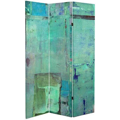 """6"""" Double Sided Aurora Canvas Room Divider Blue - Oriental Furniture"""