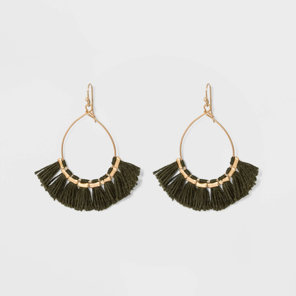 Drop Open Wire Teardrop with Tassel Earrings - Universal Thread Dark Green