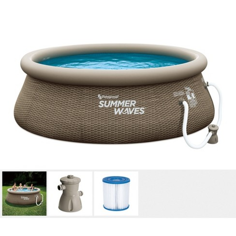Summer Waves 10ft X 36in Quick Set Above Ground Inflatable Outdoor Swimming Pool With Filter Pump Replacement Cartridge And Repair Patch Target