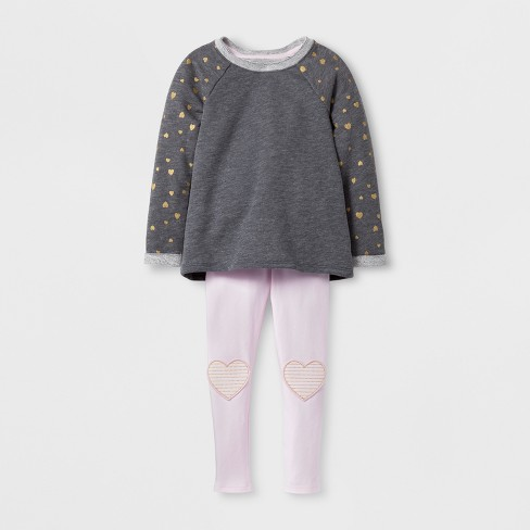 Toddler Girls' Top & Bottom Sets - Cat & Jack™ Heather Gray 5T - image 1 of 2