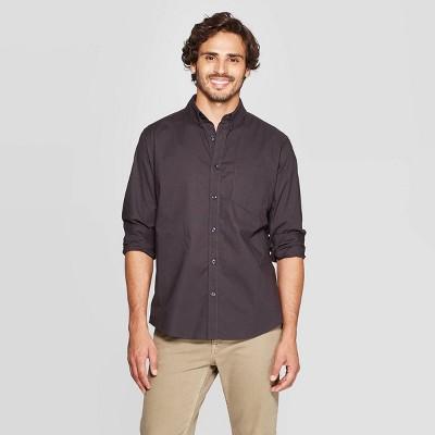 Men's Standard Fit Long Sleeve Northrop Poplin Button-Down Shirt - Goodfellow & Co™ Hematite M