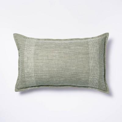 Oversized Linen Striped Lumbar Throw Pillow Green - Threshold™ designed with Studio McGee