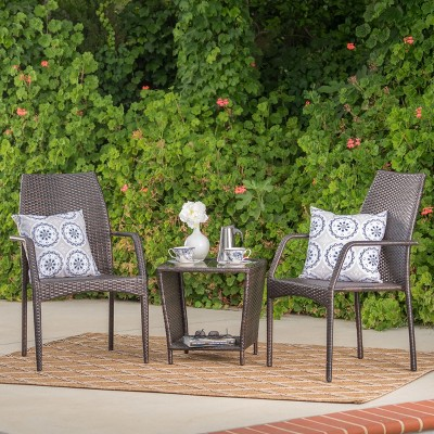 Cookton 3pc Wicker Chat Set - Multibrown - Christopher Knight Home