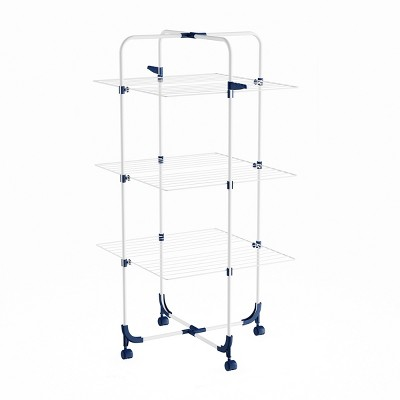 Clothes Drying Rack - 3-Tiered Laundry Station with Collapsible Shelves and Wheels for Folding, Sorting and Air Drying Garments by Hastings Home