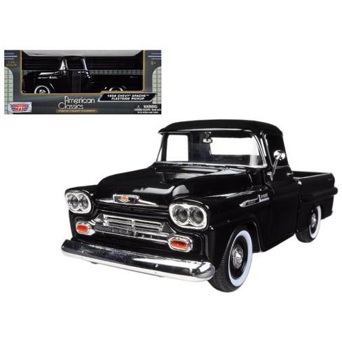 1958 Chevrolet Apache Fleetside Pickup Truck Black 124 Diecast