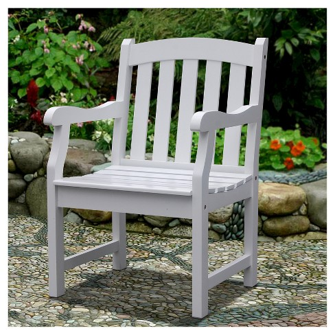 Vifah Bradley Outdoor Wood Arm Chair White Target