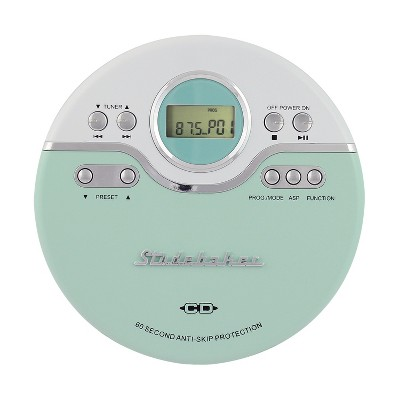 Studebaker Personal CD Player with FM Radio, 60 Second ASP and Earbuds (SB3703)
