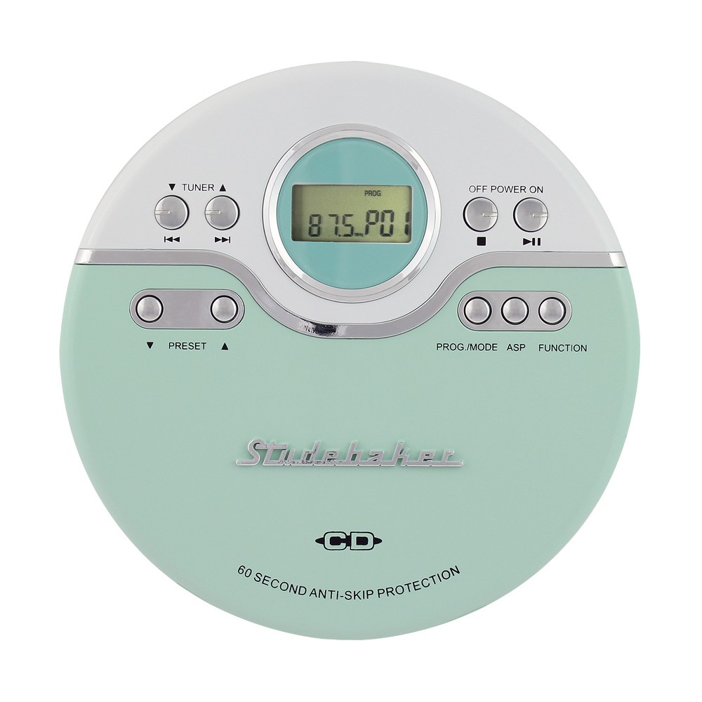 Studebaker Personal CD Player with FM Radio, 60 Second Asp and Earbuds (SB3703) - Mint Green Listen to your favorite tracks on the go with the Studebaker SB3703 personal CD player with FM radio. This compact, lightweight device comes in 3 colors. The CD player includes a headphone jack and earbuds. It features 60-second Anti-Skip protection, bass boost, digital Lcd display, Skip/Search, Play/Pause, Repeat, and programmable memory. This player has a mini Usb port so the unit can be powered through a computer or any other Usb power source. Requires two (2) AA batteries for power (not included) for portable use. Color: Mint Green.
