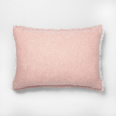 "14"" x 20"" Raw Edge Cross Dyed Throw Pillow Rose Gold - Hearth & Hand™ with Magnolia"