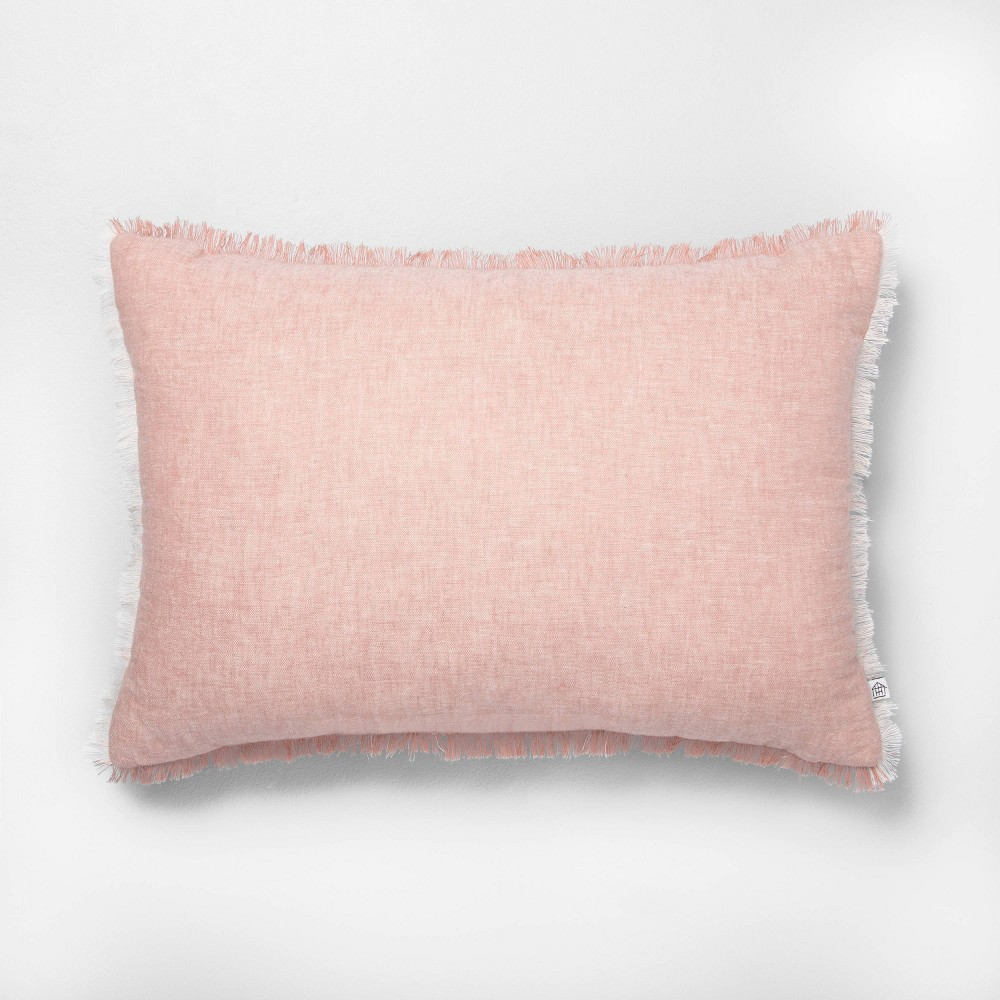 Image of 14x20 Fringe Throw Pillow Rose Gold - Hearth & Hand with Magnolia, Pink