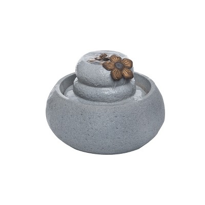 Flower On Rock Indoor Water Fountain With Pump - Foreside Home & Garden