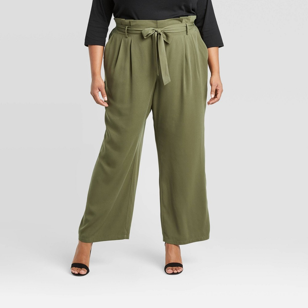 Women's Plus Size High-Rise Paperbag Pants - A New Day Green 2X was $27.99 now $19.59 (30.0% off)