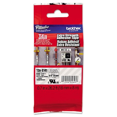 Brother TZe Extra-Strength Adhesive Laminated Labeling Tape 3/4w Black on Clear TZES141