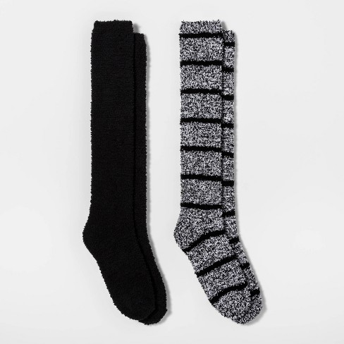 Women's Striped 2pk Cozy Knee High Socks - Black/Gray One Size - image 1 of 1