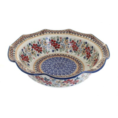 Blue Rose Polish Pottery Red Daisy Large Scallop Serving Dish