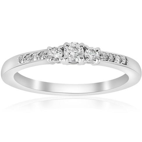 Pompeii3 1/4ct Three Stone Round Diamond Engagement Ring 14K White Gold - image 1 of 4