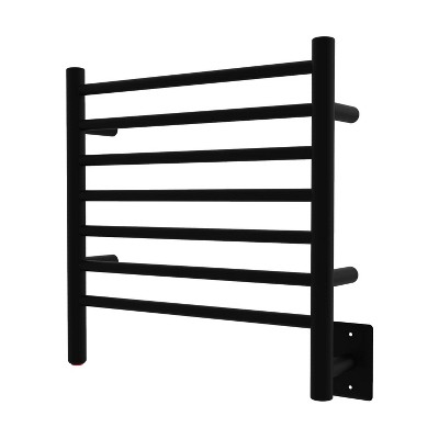 Amba RWHS-SMB Radiant Small 7 Bar Plug In Corded Heated Bathroom Towel Warmer with On/Off Switch and Hardwire Kit, Matte Black