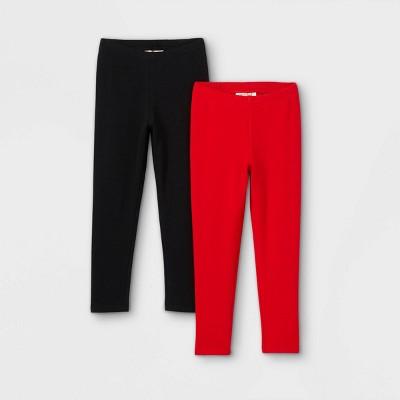 Toddler Girls' 2pk Cozy Lined Leggings - Cat & Jack™ Black/Red